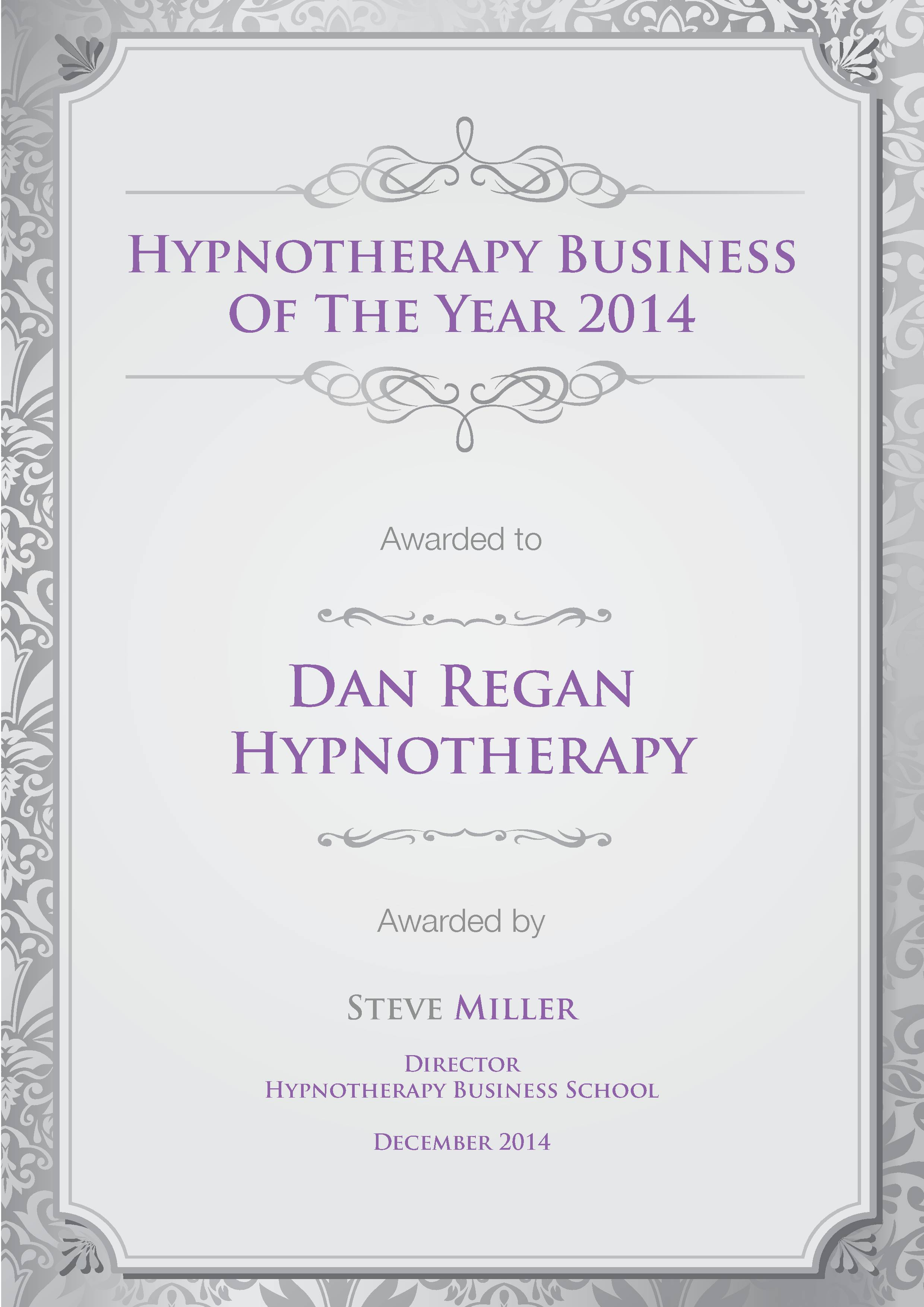 Dan Regan Hypnotherapy Business of the Year