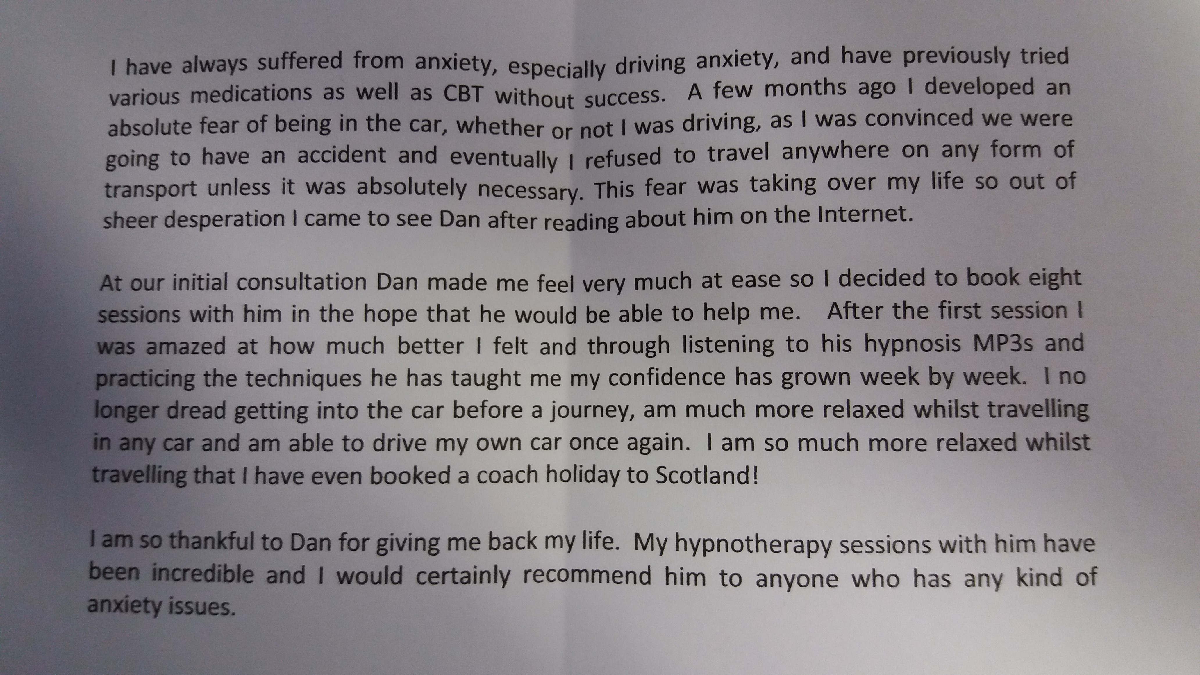 driving anxiety help ely hypnotherapy dan regan