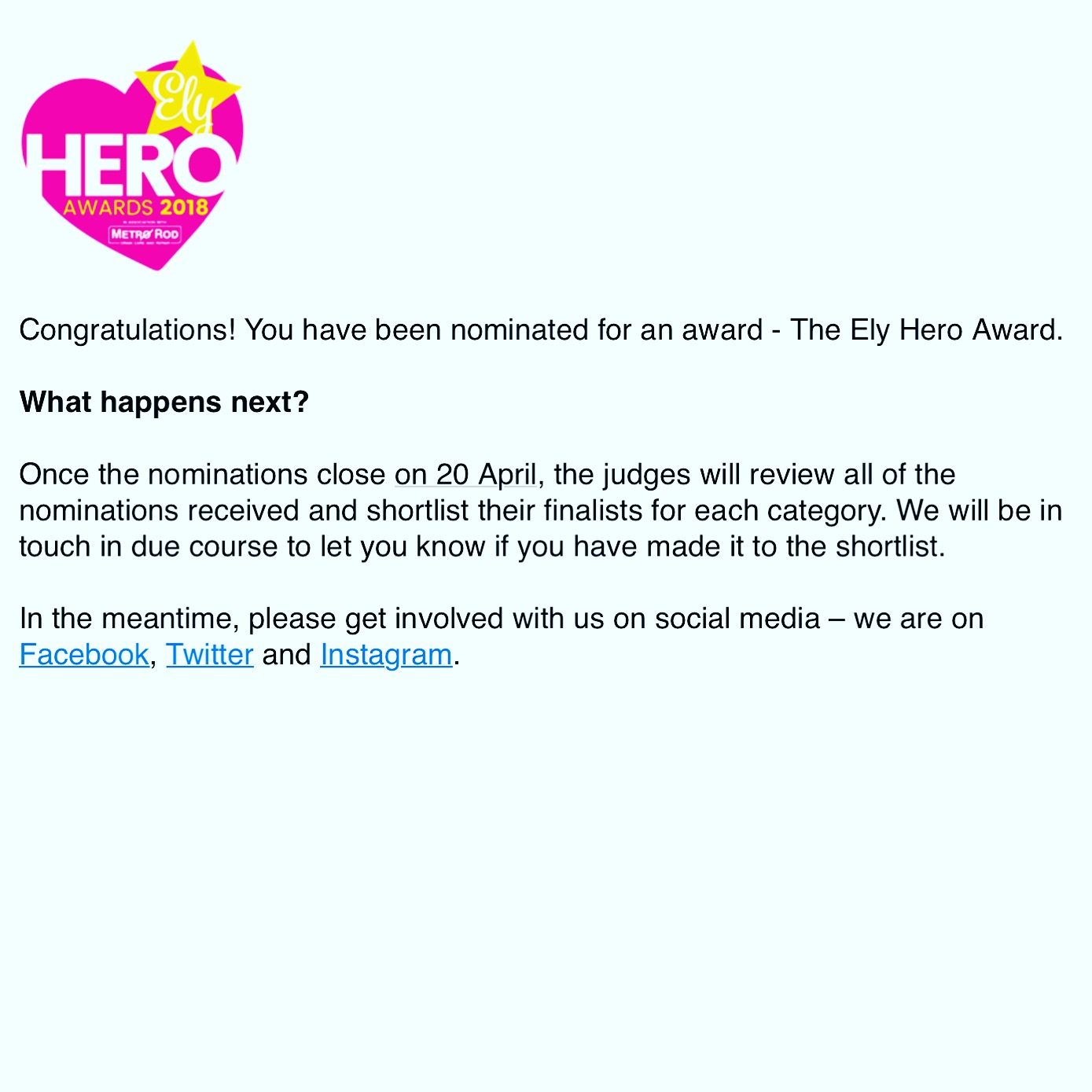 ely hero awards 2018 hypnotherapy