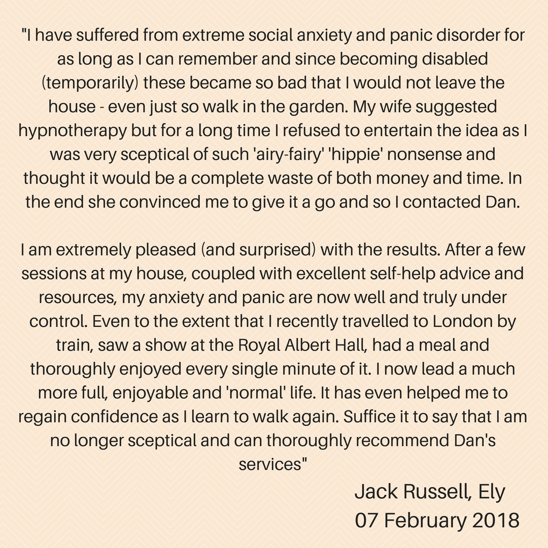 social anxiety panic disorder hypnotherapy testimonial ely