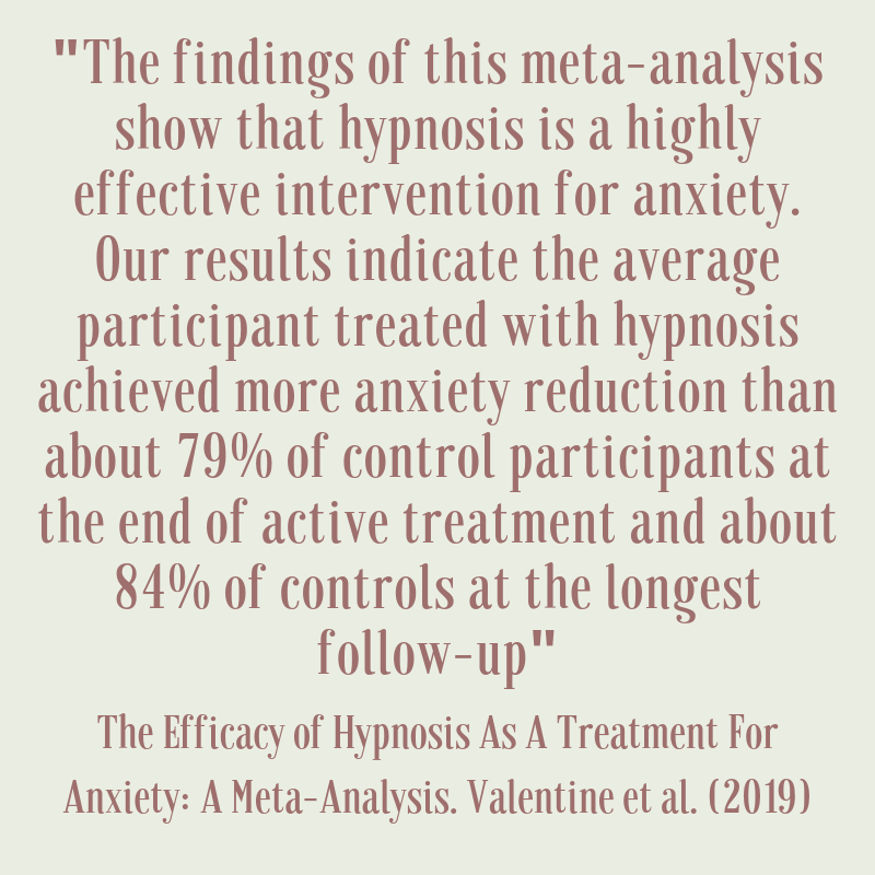 the efficacy of hypnosis as a treatment for anxiety